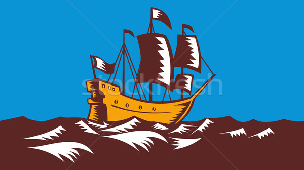 Tall Sailing Ship Retro Woodcut Stock photo © patrimonio
