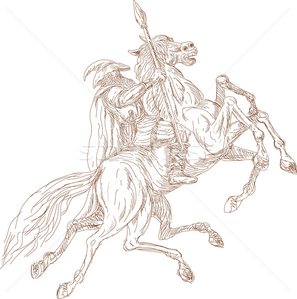 Norse God Odin riding eight-legged horse Stock photo © patrimonio