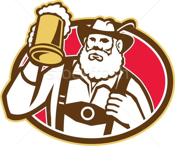 Bier mug Retro Illustration trinken nachschlagen Stock foto © patrimonio