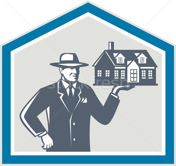 Real Estate Salesman Sell House Retro Stock photo © patrimonio