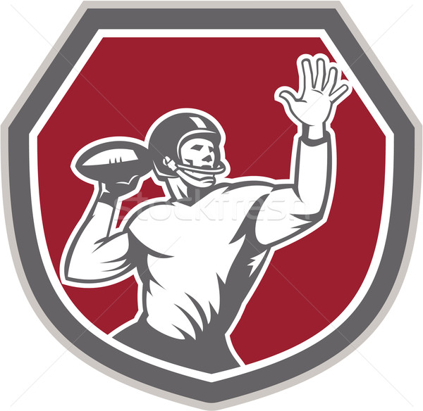 American Football Quarterback Throw Ball Shield Retro Stock photo © patrimonio