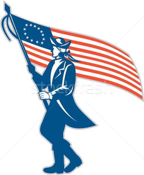 Amerykański patriota żołnierz USA banderą Zdjęcia stock © patrimonio