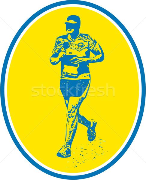 Maraton koşucu çalışma oval Retro örnek Stok fotoğraf © patrimonio