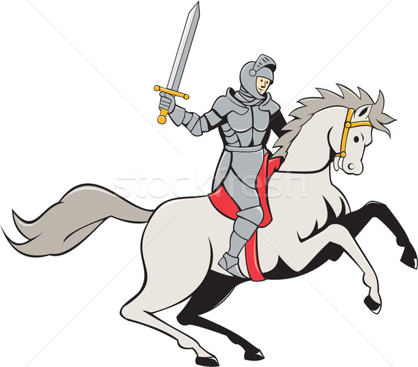 Knight Riding Horse Sword Cartoon Stock photo © patrimonio