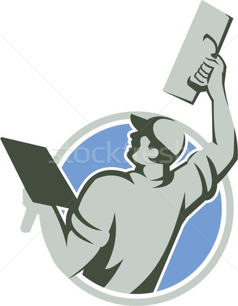 Maçonnerie cercle rétro illustration travailleur de la construction Photo stock © patrimonio