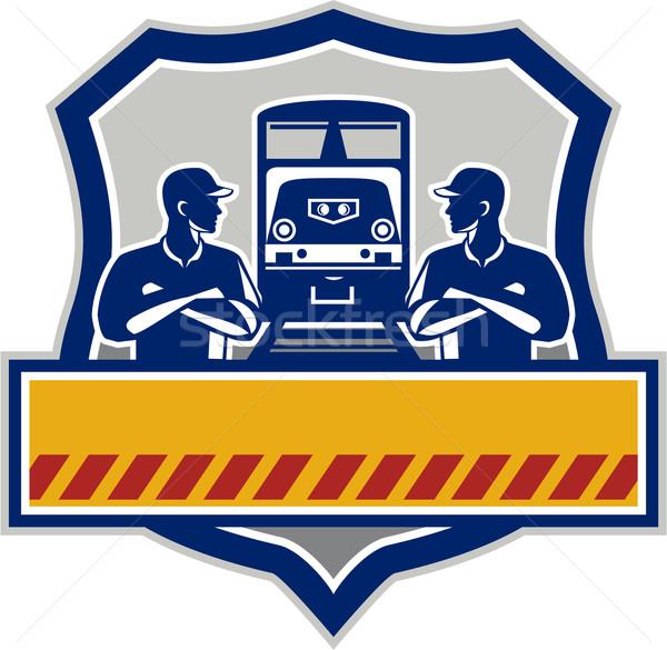 Treno ingegneri braccia incrociate diesel cresta retro Foto d'archivio © patrimonio