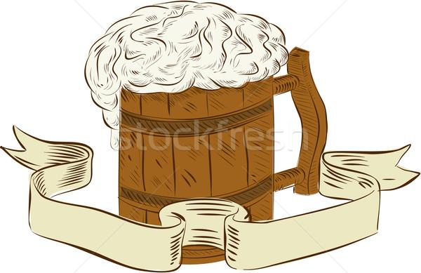 Médiévale bière mug mousse dessin croquis Photo stock © patrimonio