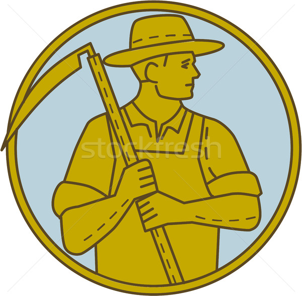 Organic Farmer Scythe Looking Side Circle Mono Line Stock photo © patrimonio