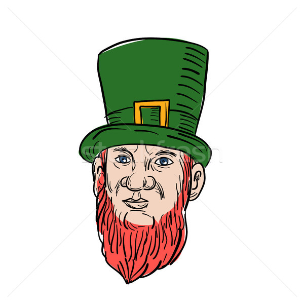 Irish Leprechaun Wearing Top Hat Drawing Stock photo © patrimonio