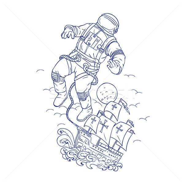 Astronaut Tethered Caravel Ship Drawing Stock photo © patrimonio