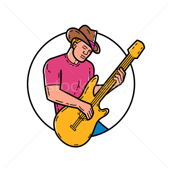 Cowboy Rocker Guitarist Mono Line Art Stock photo © patrimonio