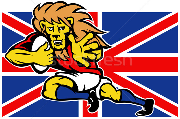 Cartoon British Lion rugby fending off GB flag Stock photo © patrimonio