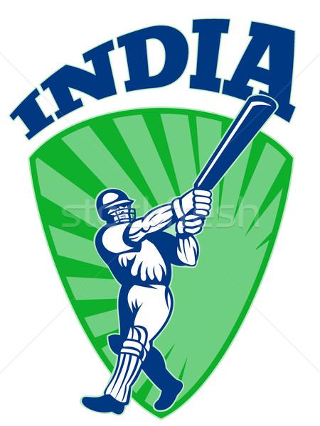 cricket player batsman batting retro India Stock photo © patrimonio