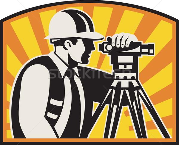 Surveyor Engineer Theodolite Total Station Retro Stock photo © patrimonio
