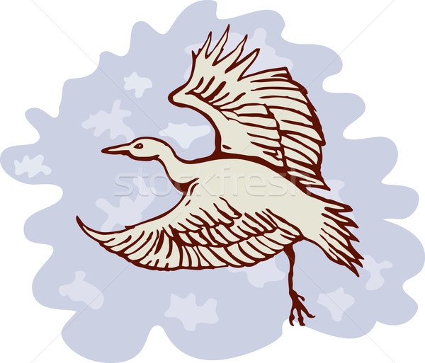 heron crane flying side view Stock photo © patrimonio