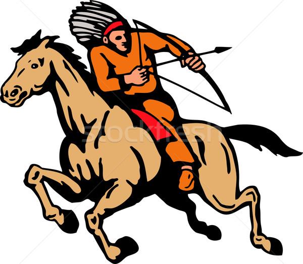 American indian equitazione cavallo arco arrow illustrazione Foto d'archivio © patrimonio
