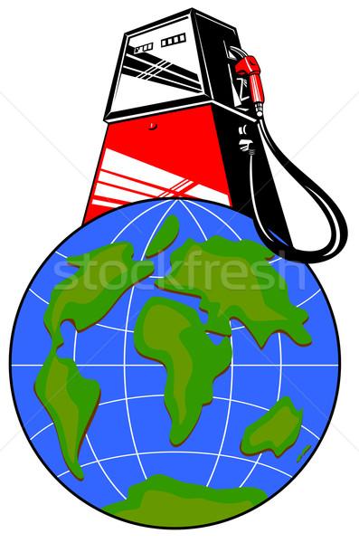 Benzinpumpa földgömb illusztráció benzin gázolaj üzemanyag Stock fotó © patrimonio