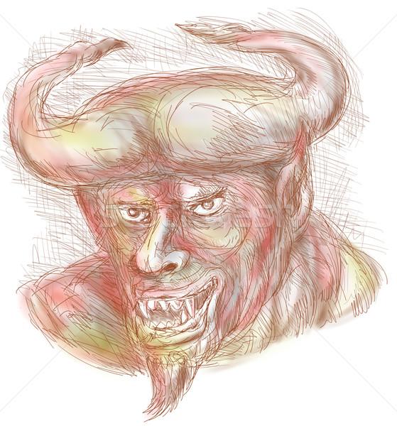 Demon with big horns Stock photo © patrimonio