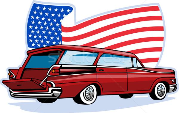 1950 駅 ワゴン アメリカンフラグ グラフィックデザイン 実例 ストックフォト © patrimonio