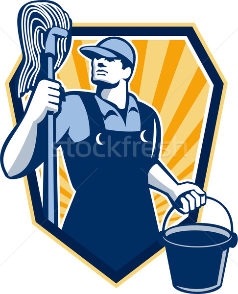 Janitor Cleaner Hold Mop Bucket Shield Retro Stock photo © patrimonio