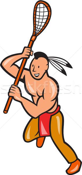 Native American Lacrosse Player Crosse Stick  Stock photo © patrimonio