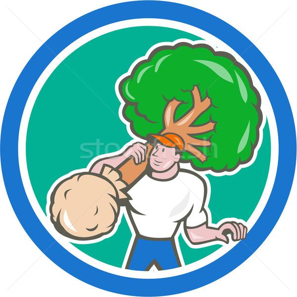 Gardener Arborist Carrying Tree Cartoon Stock photo © patrimonio