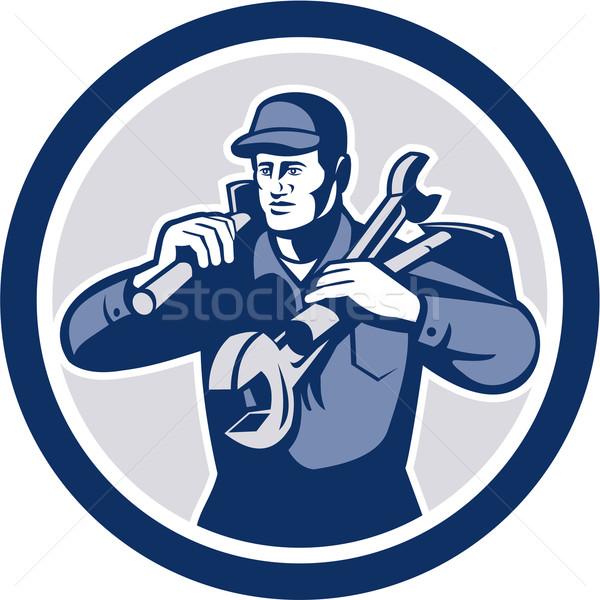 Handyman Repairman Spanner Wrench Spade Retro Stock photo © patrimonio