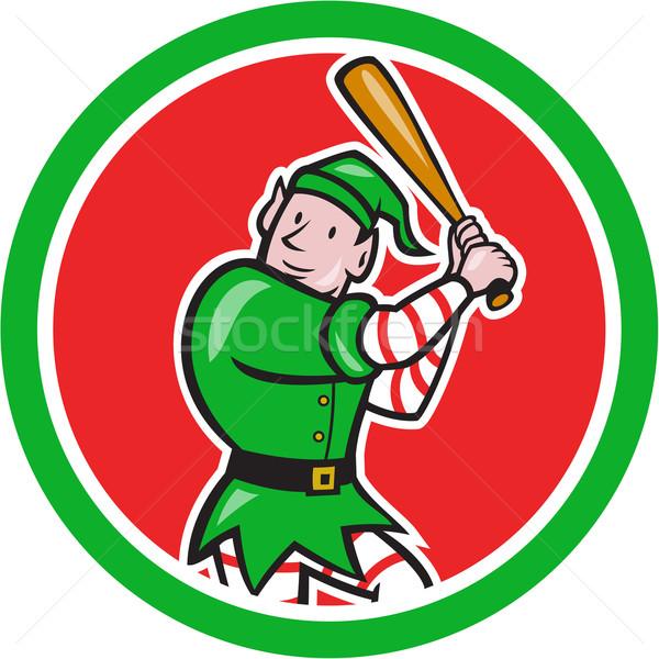 Elfo jogador de beisebol bat círculo desenho animado ilustração Foto stock © patrimonio