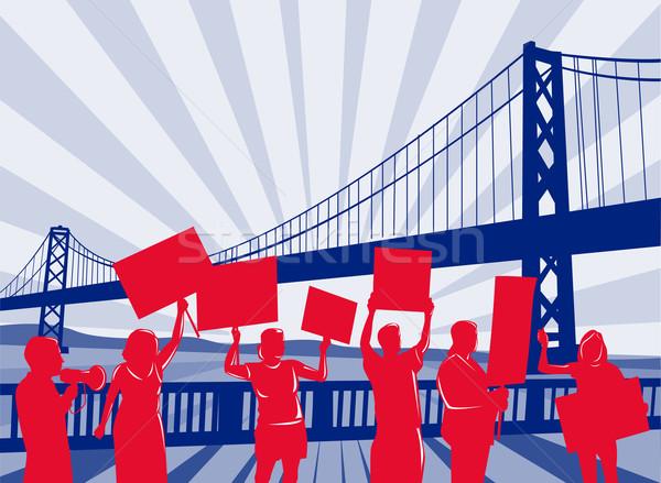 red silhouetted people bridge Stock photo © patrimonio