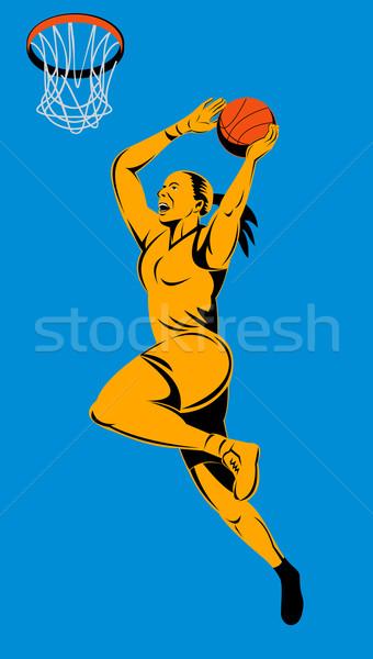 Zdjęcia stock: Kobiet · skoki · widok · z · boku · ilustracja · piłka