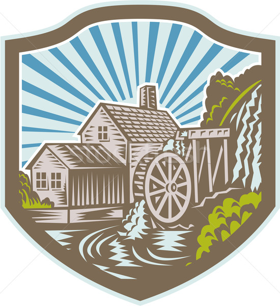 Watermill House Shield Retro Stock photo © patrimonio