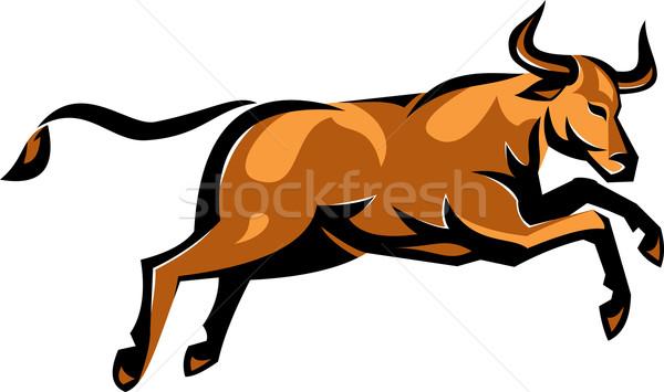 Texas Longhorn Bull Jumping Side Retro Stock photo © patrimonio