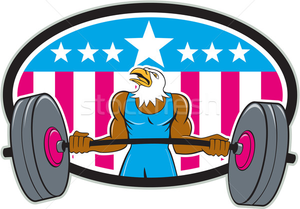 Bald Eagle Weightlifter Barbell USA Flag Oval  Stock photo © patrimonio