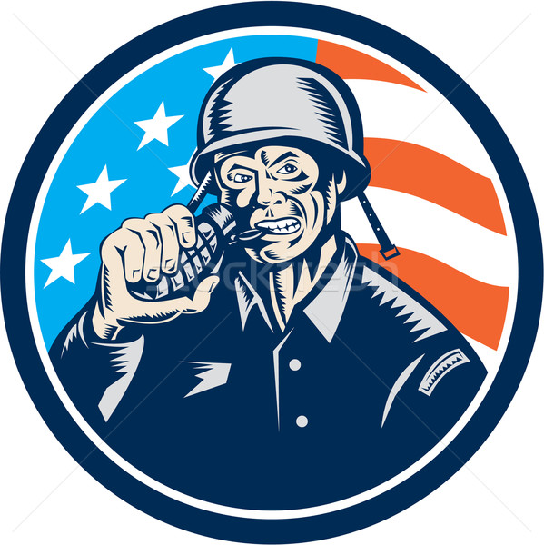 World War Two Soldier American Grenade Circle Woodcut Stock photo © patrimonio