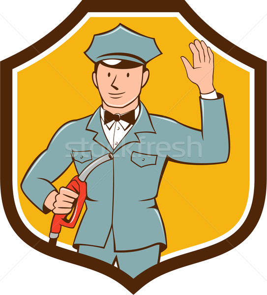 Gas Jockey Attendant Waving Shield Cartoon Stock photo © patrimonio