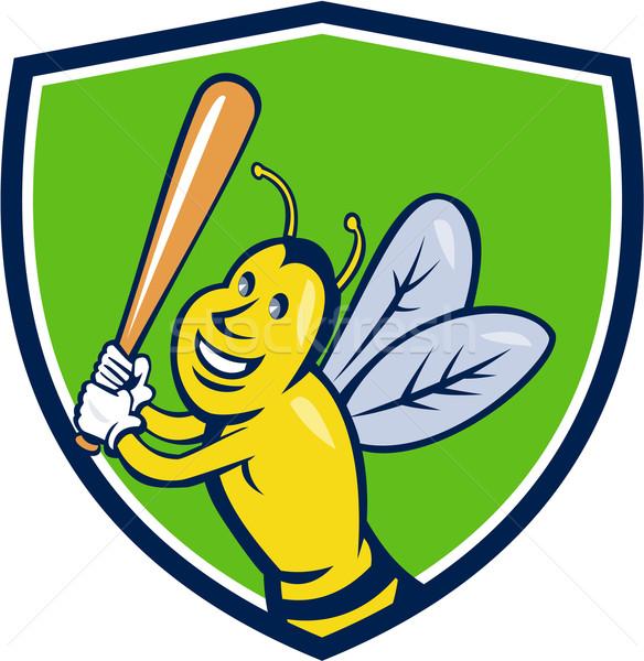 Gyilkos méh baseball játékos címer rajz stílus Stock fotó © patrimonio