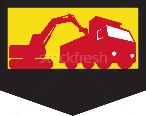 Mechanical Digger Loading Dump Truck Shield Retro Stock photo © patrimonio