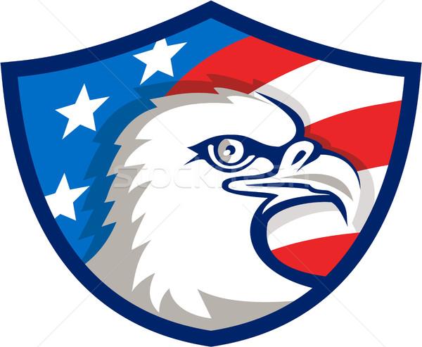 Kopasz sas fej USA zászló pajzs Stock fotó © patrimonio