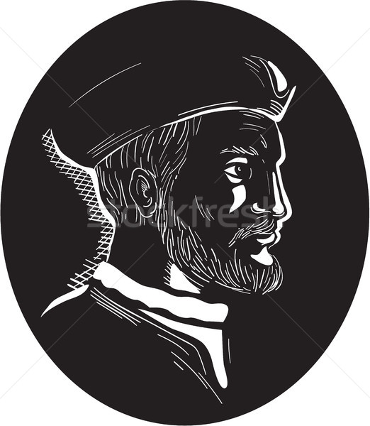 Jacques Cartier French Explorer Oval Woodcut Stock photo © patrimonio