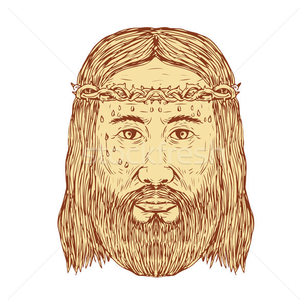Jesus couronne visage dessin croquis illustration Photo stock © patrimonio
