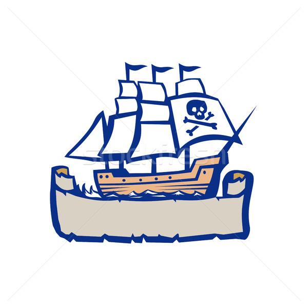 Stockfoto: Piraat · schip · zeilen · retro · illustratie · lint