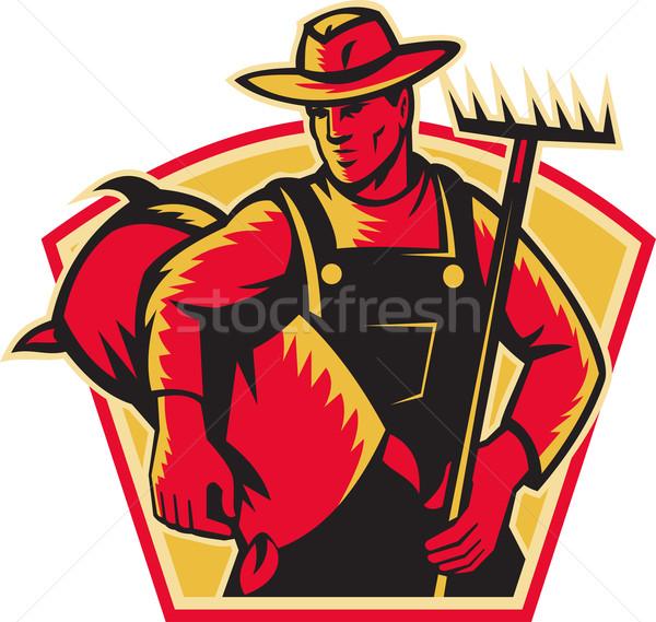Gazda mezőgazdasági munkás gereblye zsák illusztráció Stock fotó © patrimonio