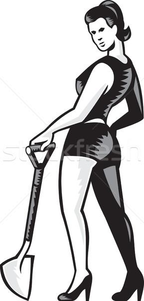 Pin-up Girl With Shovel Spade Retro Stock photo © patrimonio