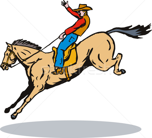 Rodeo Cowboy Horse Riding Retro Stock photo © patrimonio