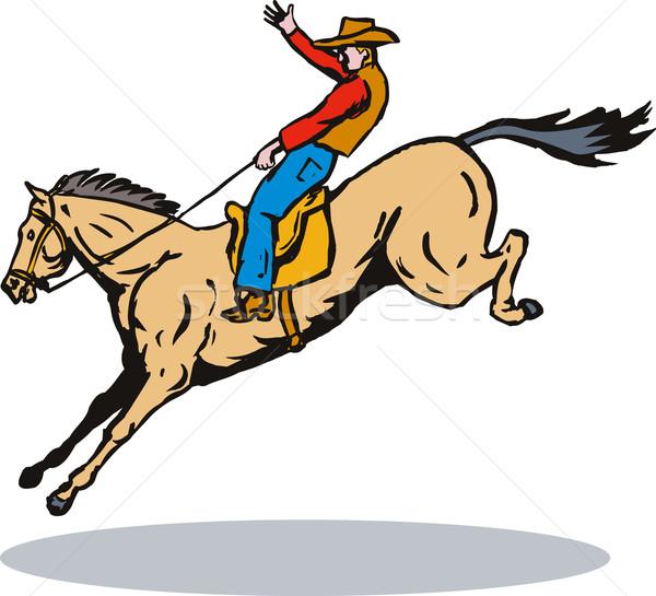 ロデオ カウボーイ 乗馬 レトロな 実例 ライディング ストックフォト © patrimonio