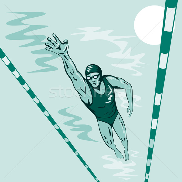 Swimmer Freestyle Retro Stock photo © patrimonio
