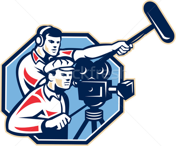 Cameraman Vintage Camera Soundman Boom Retro Stock photo © patrimonio
