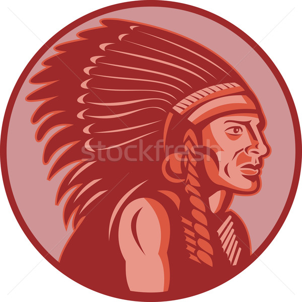 native american indian chief side view Stock photo © patrimonio
