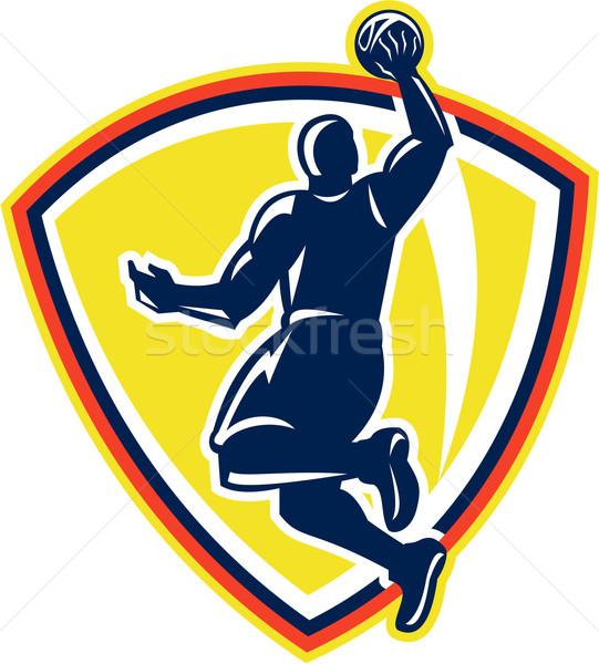 Basketballer Dunking Rebounding Ball Retro Stock photo © patrimonio
