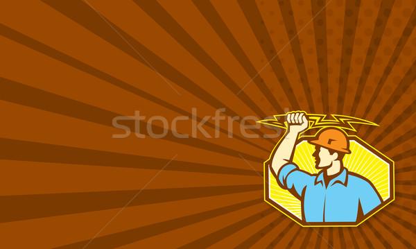 Villanyszerelő villám mutat illusztráció tart szemben Stock fotó © patrimonio